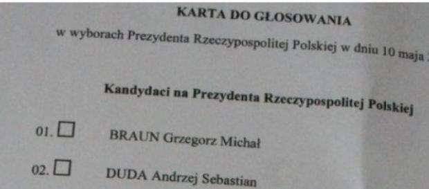 Karta do głosowania, wybory prezydenckie 2015