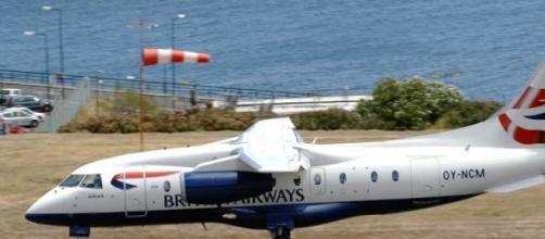 Chegada de um avião da British Airways à Madeira