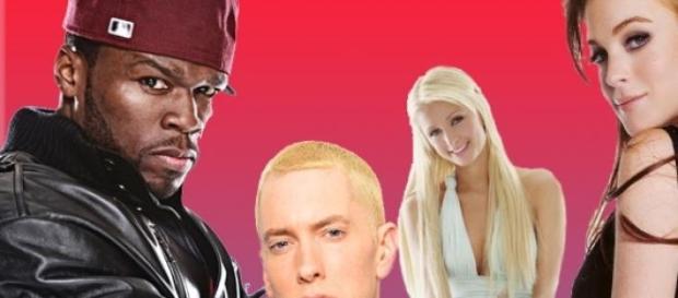 50 Cent, Eminem, Lindsay Lohan e Paris Hilton