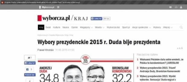 Duda bije prezydenta (print scrn gazeta.pl)