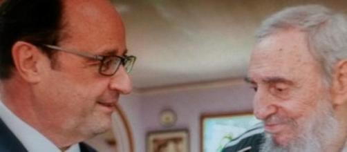 Hollande et le leader maximo Fidel Castro