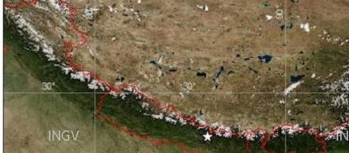 immagine satellitare del luogo del sisma