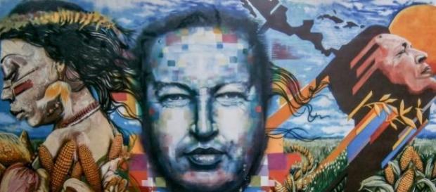 Mural: La Asunción de Chávez al cielo