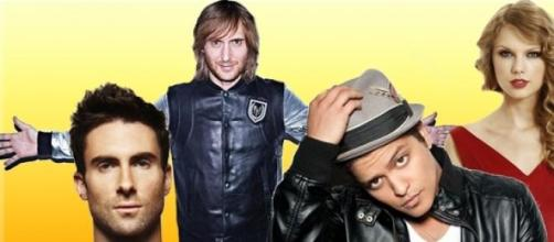 Maroon 5, David Guetta, Bruno Mars e Taylor Swift.