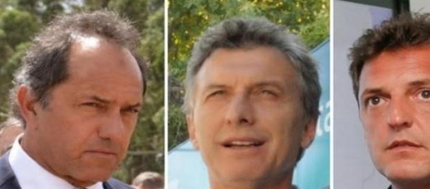 Daniel Scioli, Mauricio Macri y Sergio Massa
