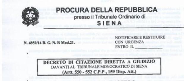 Il decreto inviato ieri alla Bernardini
