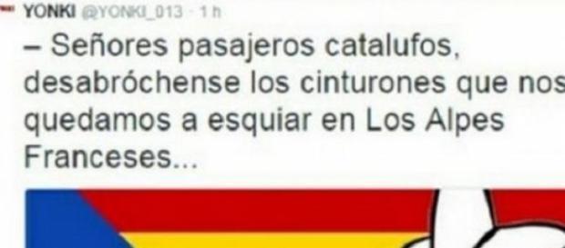 Tuit catalanófobo sobre el accidente de avión.