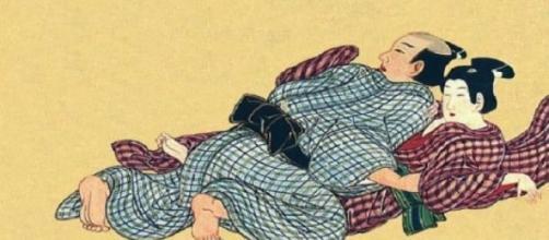 Dibujo de arte erótico japonés medieval