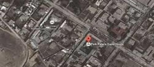 Foto satellitare della zona dell''attentato.