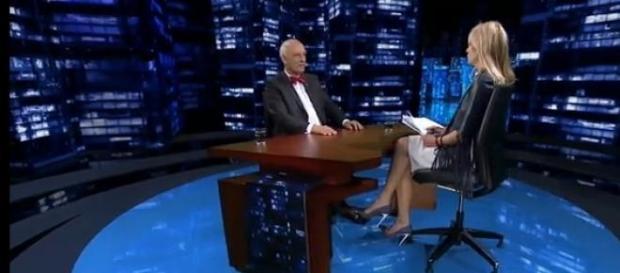 Janusz Korwin-Mikke i Monika Olejnik (fot. tvn24)