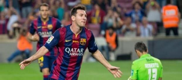 El futbolista Messi, celebrando un gol
