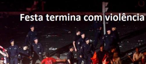 Festa do Benfica no Marquês termina em violência