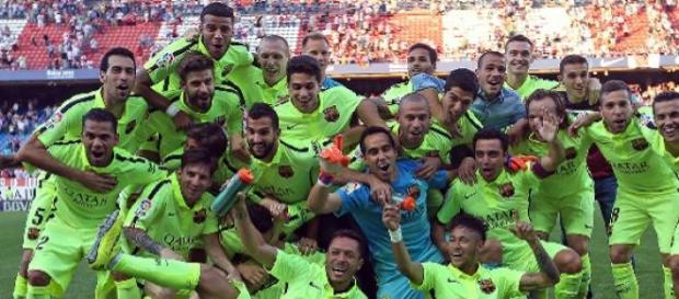 El Barcelona de festejo después del partido