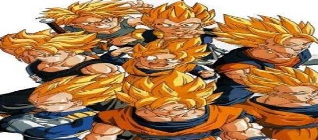 Goku y sus amigos en modo Super Sayayin