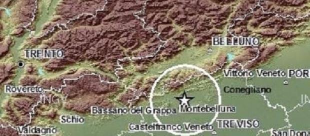 L'epicentro del terremoto in Veneto