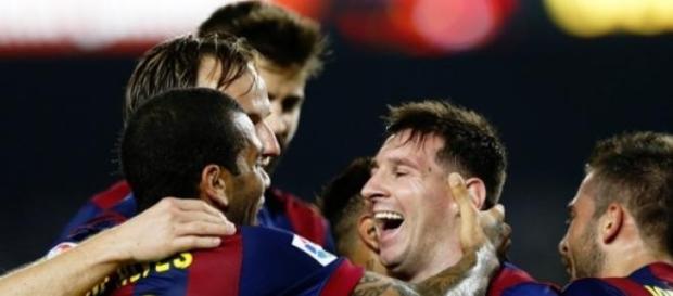 Messi festejando uno de sus goles