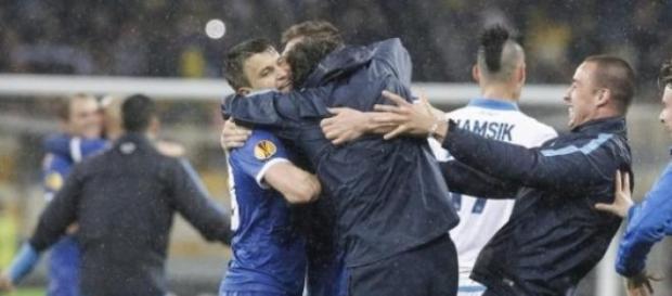Radość w drużynie Dnipro po wyeliminowaniu Napoli