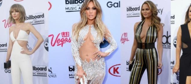 Jennifer Lopez, Taylor Swift e Mariah Carey mostraram quase tudo no tapete vermelho