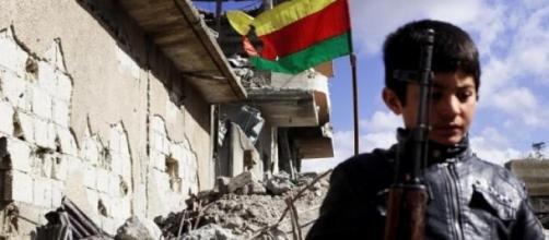 Kurdish child in Kobane - by Agostino Amato.