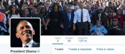 Página inicial da conta de Barack Obama no Twitter