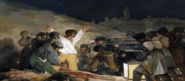 """""""Los Fusilamientos del Tres de Mayo"""" de Goya."""