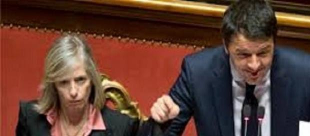 Il ministro Stefania Giannini e il premier  Renzi.