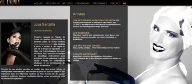 Capture d'écran du site Internet de Perle Events