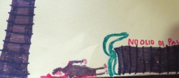 Disegno di un bambino sull'olio di palma
