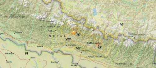 Epicentro del terremoto de Nepal del 25 de abril