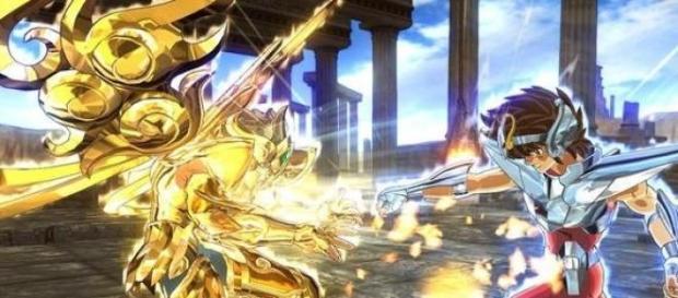 Seiya y los Caballeros de Oro en pleno combate