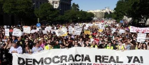 Marcha del 15M en Madrid por una democracia real