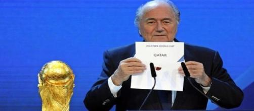 Joseph Blatter announcing Qatar as host of 2022 WC
