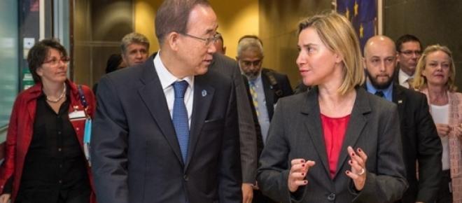 Întâlnire la nivel înalt , Ban Ki-moon și Federica Mogherini - cooperare ONU- UE pentru gestionarea fluxului migrației în Mediterana