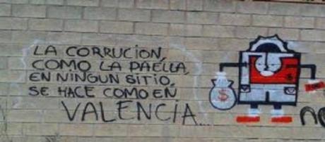 Pintada contra la corrupción en Valencia.