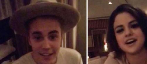 Justin Bieber e Selena Gomez no vídeo snapchat