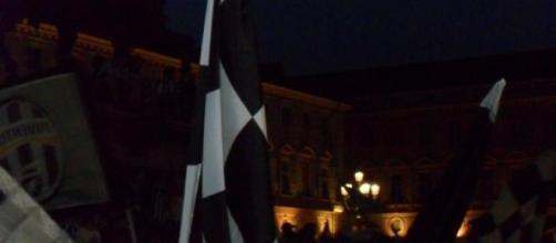Tifosi bianconeri in Piazza San Carlo a Torino