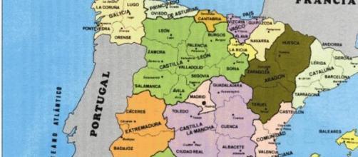 Mapa de España en imagen de archivo.