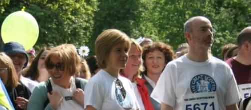 Nicola Sturgeon on a public walk about.