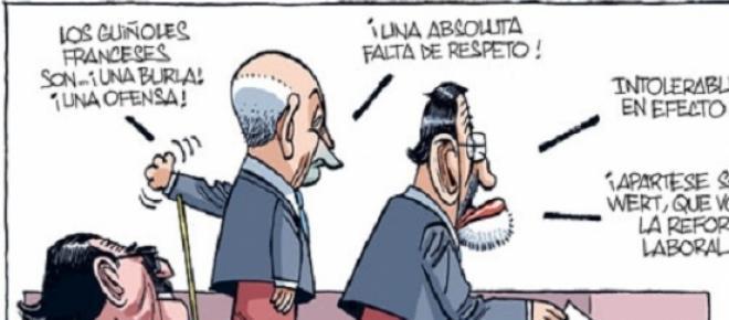 Chiste de la Prensa española en 2012, de Manel Fontdevila, sobre los guiñoles franceses. En él muestra cómo el PP intentaba utilizarlo a su favor.