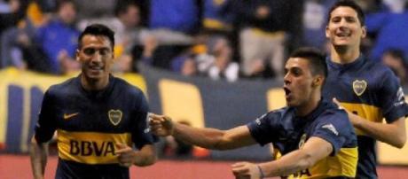 El festejo de Cristian Pavón después del 1-0