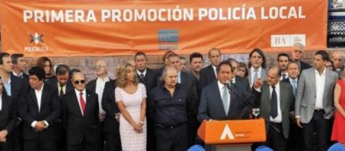 Scioli en el lanzamiento de la Policía Local
