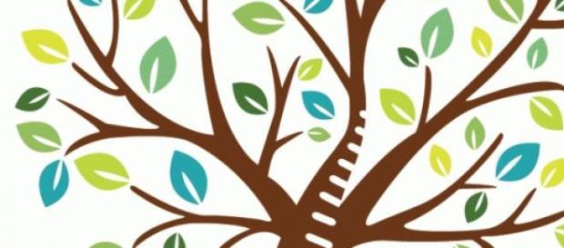 Copacul este copacul vieții, cu tulpina ca o scară