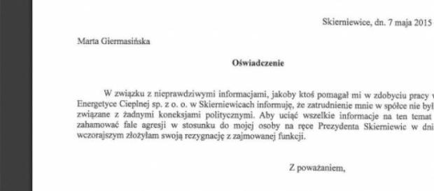 Oświadczenie Marty Giermasińskiej o rezygnacji