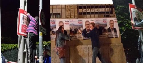 pegada de carteles de candidatos y candidaturas