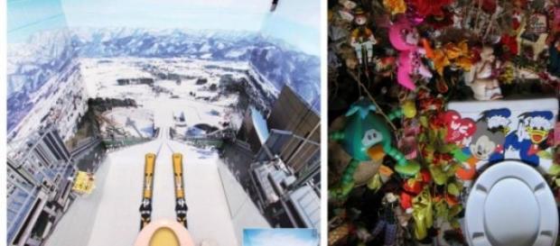 Casa de banho de Ski e outra caótica
