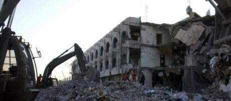 Destrucción en Bagdad, Irak.