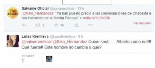 Pantallazo del tweet de Lucia, después borrado