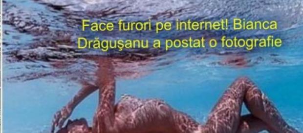 Bianca Drăgusanu, goală in piscină