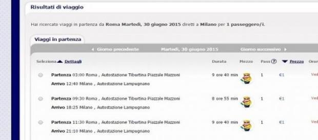 Da Roma a Milano a 1 euro, con Megabus