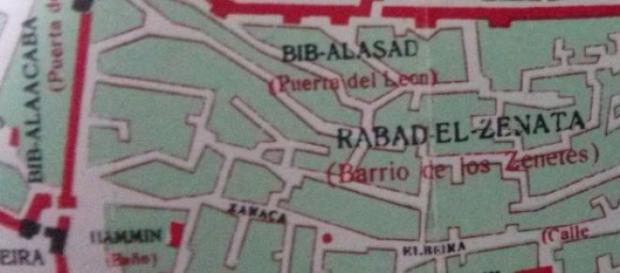 Plano de la ruta, pero de la Granada nazarí